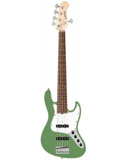 SADOWSKY MetroLine 21-Fret Vintage J/J Bass, Alder, 5-String (Solid Sage Green Metallic Satin)