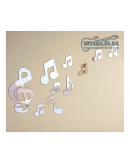 Наклейка на стену ALL SOUNDS Mirror Notes Зеркальные ноты