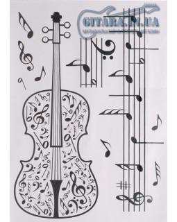 Наклейка на стену ALL SOUNDS Violin Music Скрипка и ноты