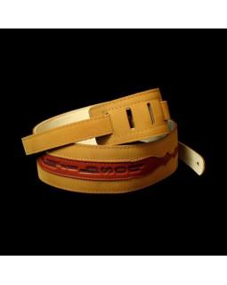 GIBSON ASGG-BL010 BRUSHED LEATHER STRAP TAN W/COGNAC Ремень гитарный кожаный