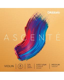 D'ADDARIO ASCENTÉ VIOLIN SINGLE A STRING 3/4 Scale Medium Tension