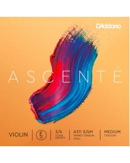 D'ADDARIO ASCENTÉ VIOLIN SINGLE E STRING 3/4 Scale Medium Tension